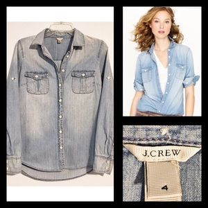 "J CREW ""The Keeper"" Chambray Tab Sleeve Shirt Sz 4"